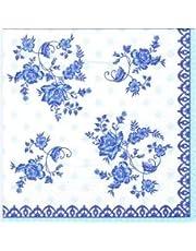 20 servetten blauwe bloemen aan boord/neutraal/tijdloos 33 x 33 cm