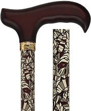 - Royal Canes Bahama Leaf Adjustable Derby Walking Cane with Engraved Collar