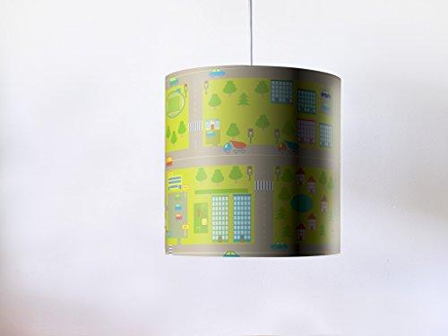 YOURDEA - bunte Lampenschirme passend für IKEA HEMMA mit Kinder Motiv: Straßenteppich inklusive Lampenaufhängung und LED Leuchtmittel E27 11W 600lm