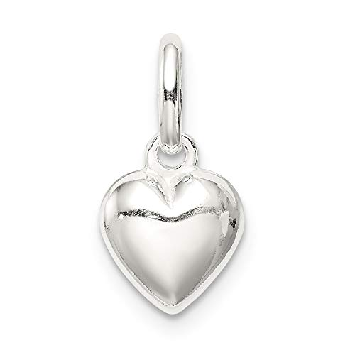 925 Sterling Silver Polished Puff Heart Charm and Pendant from Saris and Things