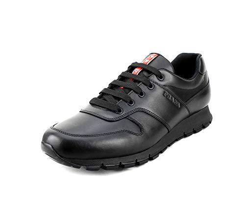 (Prada Men's Vitello Plume Leather Trainer Sneakers, Nero (Black) 4E3363 (8.5 M US / 7.5 UK) )