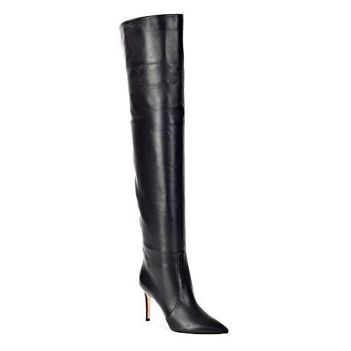 Spitz Schuhe Oberschenkel HNBoots Stilett Zehe Schwarz Leder Herbst Winter Hoch Overknee Stiefel Hacke Damen hoch q1CPF