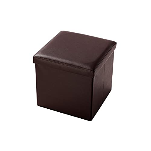 Juvale Faux, Folding, Wooden, Leather, Storage Cube/Ottoman Foot Rest 15  Inches, Brown