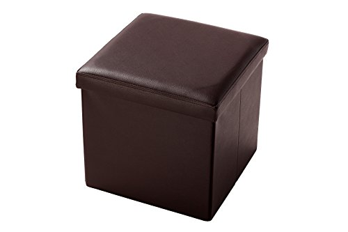 Faux, Folding, Wooden, Leather, Storage Cube / Ottoman Foot Rest 15 Inches, Brown by Juvale