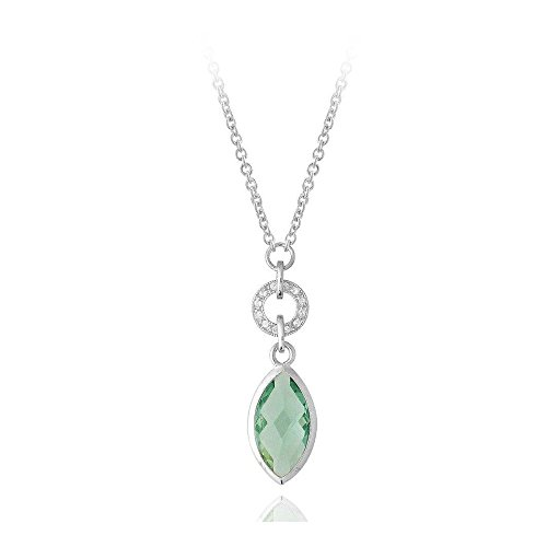 Sterling Silver 8Ct Caribbean Mist & Clear Cubic Zirconia Dangling Circle & Marquise Necklace, 16 (Mist Silver Sterling Caribbean)