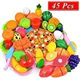 - ONLYO Cutting Toys, 45 PCS Play Cutting Food Kitchen Toy Cutting Fruits Vegetables Pretend Food Playset Early Development Learning Toy Gifts for Christmas for Toddlers Kids Boys Girls with Storage Bag