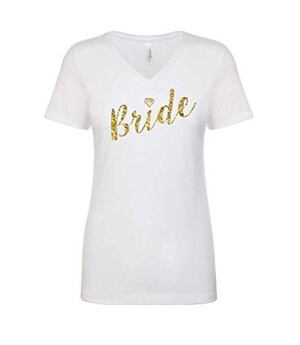 Bride Womens V-neck T-shirt - Blue Sand Textiles Bride Shirt. Womens V-Neck Bride Shirt with Gold Sparkly Print. Diamond Shirt. Wedding Shirt. (Medium),White