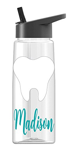 Personalized Sport water bottle Dental Assistant Tooth design with name BPA Free 26 oz, clear or colored bottle