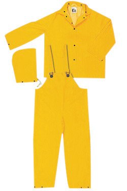 River City Garments® X-Large Yellow Classic .3500 mm PVC And Polyester 3 Piece Rain Suit (Includes Jacket With Front Snap Closure, Detachable Drawstring Hood And Bib Pants With Snap (Detachable Bib Safety Pants)