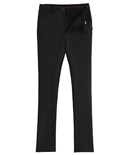 Front Pleat Dress Trousers Casual Suit Solovedress Slim Suit Pants Pants Fit Black Men's xwB6a00FqY