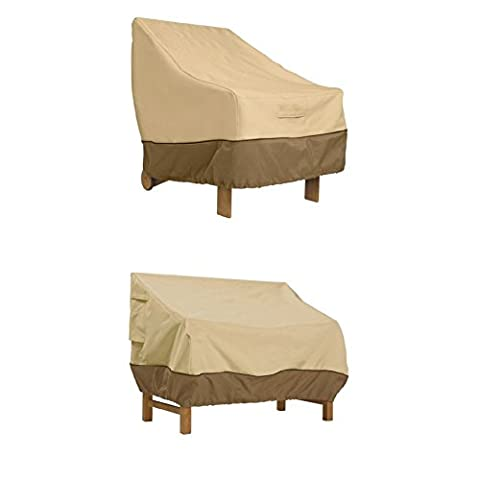 Classic Accessories Veranda Patio Lounge Chair/Club Chair Cover - Durable and Water Resistant Outdoor Furniture Cover, Large (70912) WITH Classic Accessories Veranda Sofa / Loveseat Cover - - Classic Collection Adirondack Deck Chair