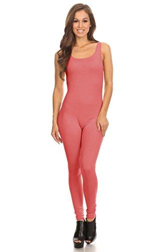 Women's Scoop Neck Sleeveless Stretch Cotton Jersey Unitard Bodysuits (Small, Coral) (Bodysuit Slim Cotton)