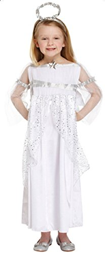 Girls Long Full Length White Silver Christmas Angel Fairy Nativity Gabriel Fancy Dress Costume Outfit Ages 4-12 Years (4-6 Years) -