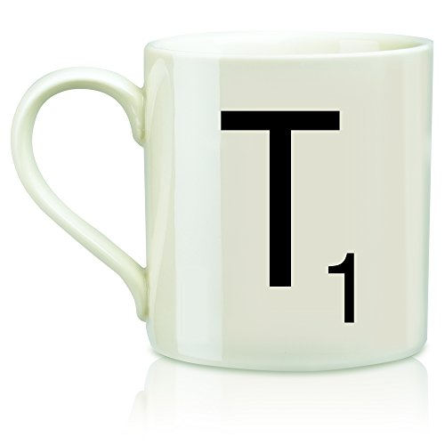 Scrabble Letter Ceramic T Scrabble Mug, Cream/Black (14 -