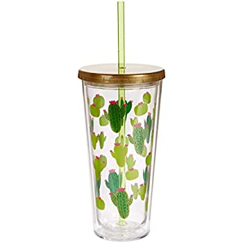 C.R. Gibson QITS-20831 Cactus Insulated Tumbler w/straw, 20 oz./4
