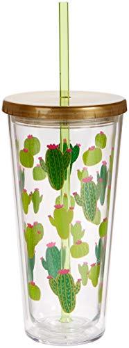 C.R. Gibson QITS-20831 Cactus Insulated Tumbler w/straw 20 oz./4