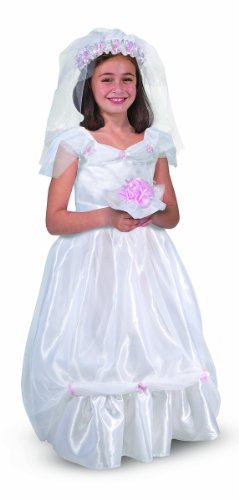 Melissa & Doug Bride Role Play Costume Set (3 pcs) - Gown, Veil, -