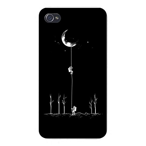 Apple Iphone Custom Case 5   5S White Plastic Snap On    Reach For The Moon  Astronauts Climbing Rope Into Space By Hat Shark