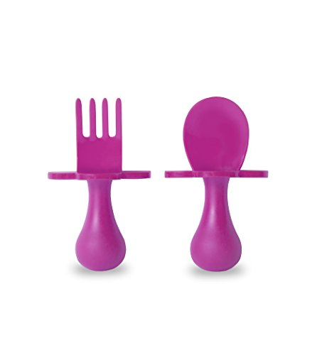 grabease First Self Feeding Utensil Set of Spoon and Fork for Toddler and Baby. BPA free. To-go pouch (pink) by Elli&Nooli