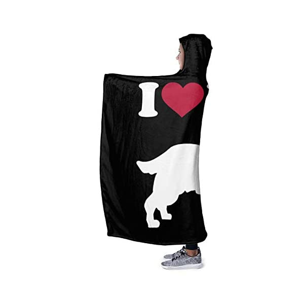 YOUNAOQQ I Love My English Springer Spaniel Wearable Hooded Blanket Warm Hooded Blanket Fluffy Blankets Fleece Hooded Blankets 2