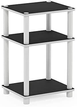 Furinno Just 3-Tier Turn-N-Tube End Table/Side Table/Night Stand/Bedside Table, 1-Pack, White/White