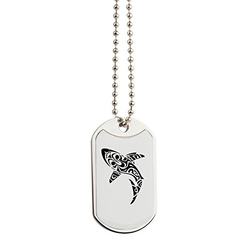 CafePress - Shark Tattoo Design - Military Style Dog Tag, Stainless Steel with Chain