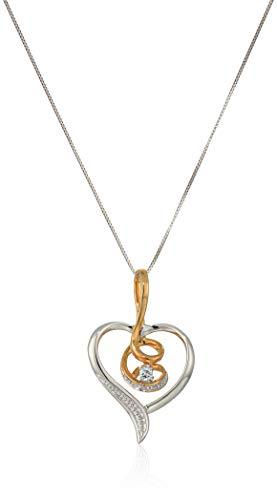 Espira 10K White Gold Heart Diamond Accent Pendant (0.03 cttw, J-K Color, I2-I3 Clarity)