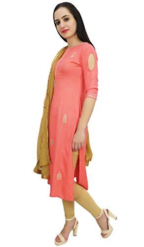 Atassi Concepteur Rayonne Salwar Kameez Indien Ethnique Saumon Vêtements Femmes Personnalisé Et Beige