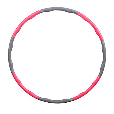 Fypo Hula Hoop, Snap Together Wavy Weighted 3 lb Fitness Portable Fat Burning Weight Loss Workout Pro Speed Agility Training Ring Exerciser Dance Twist Stretch Fun Toy Pink & Grey (8 - Hula Hoop Tricks