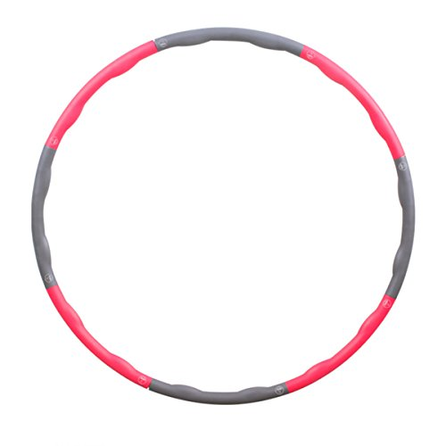 Fypo Hula Hoop, Snap Together Wavy Weighted 3 lb Fitness Fat Burning Weight Loss Workout Pro Speed Agility Training Ring Exercise Dance Twist Stretch Fun Toy Detachable Portable Pink & Grey