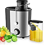 Bagotte Compact Juice Extractor Fruit and Vegetable Juice Machine Wide Mouth Centrifugal Juicer, Easy Clean Juicer, Stainless Steel, Dual-Speed, 400w, BPA-Free