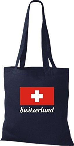 ShirtInStyle Bolso de tela Bolsa de algodón Yute de país Suiza Suiza - fucsia, 38 cm x 42 cm azul marino