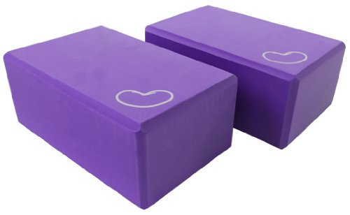 "Yoga Block  2 pack 3 in. x 6 in. x 9 in. Larger Size High Quality 4 colors by Bean Productsâ""¢ - PURPLE - 2 PACK"