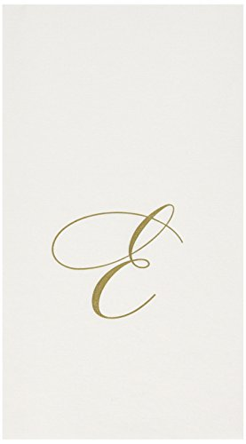 (Entertaining with Caspari White Pearl Paper Linen Guest Towels, Monogram Initial E, Pack of 24)