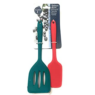 Core Kitchen 2-pc Silicone Mini Utensil set, All-Purpose Spatula (Red-Orange) &  Slotted Turner (Deep Teal)
