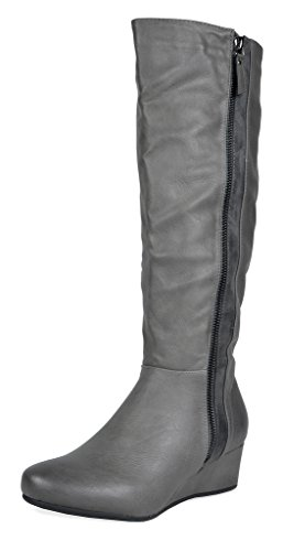 DREAM PAIRS Womens Low Wedege Fashion Boots Grey-pu