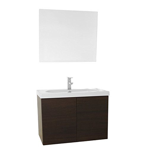 "50%OFF Iotti Iotti TR82 Trendy Bathroom Vanity with Ceramic Sink and Mirror Included, 31"", Wenge"