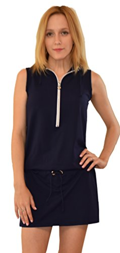 Private Island Hawaii Womens Rash Guard Sleeveless Hooded One Pices Dress Navy Small