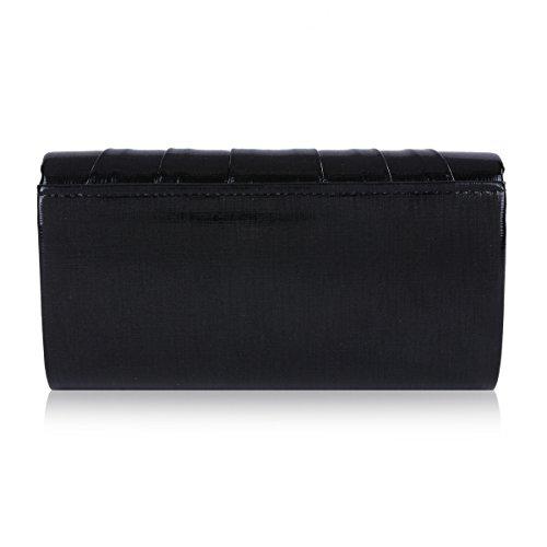 Evening Damara Pintuck Women Bag Crystal Flap Black Magnet 6qp7X1q