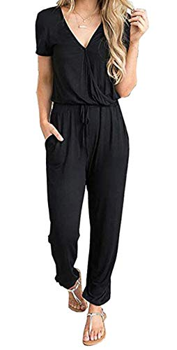 PRETTYGARDEN Off Shoulder Sleeve Hollow Out Sexy Women Bodycon Long Jumpsuit Rompers (X-Large, 101002 Black)