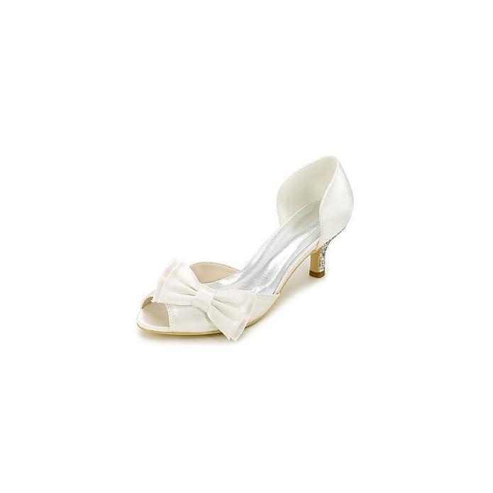 Wuyulunbi Scarpe Donna Raso Primavera Estate Della Pompa Base Matrimonio Stiletto Heel Peep Toe Bowknot Scintillanti Di Glitter Per La Festa Nozze E Sera