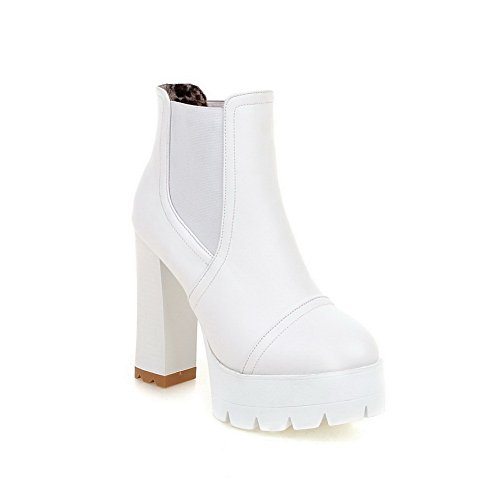 Leather Toe Elastic Boots White AdeeSu Platform Band Heels Womens Round Imitated Chunky zxg0qFxA