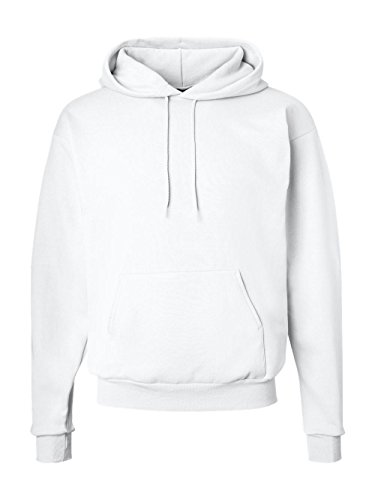 Hanes Men's Pullover EcoSmart Fleece Hooded Sweatshirt, White, Medium