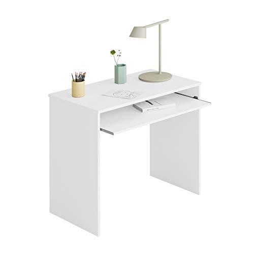 Habitdesign 002314A - Mesa de Ordenador con Bandeja extraible, Modelo I-Joy, Medidas: 90 cm (Ancho) x 54 cm (Fondo) x 79 cm (Altura), Blanco Artik