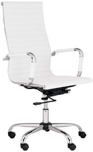 Best Deal Depot High-Back Modern Ribbed Upholstered Leather Office Desk Chair White