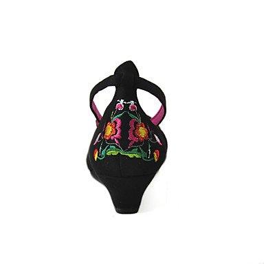 Cm Da Lvyuan Black Donna Floreale Tessuto Zeppa Uk4 Fibbia Tacchi 5 4 Nero 2 Eu36 Estate Primavera Fucsia Cn36 ggx 5 Us6 55nrqxw8Ta