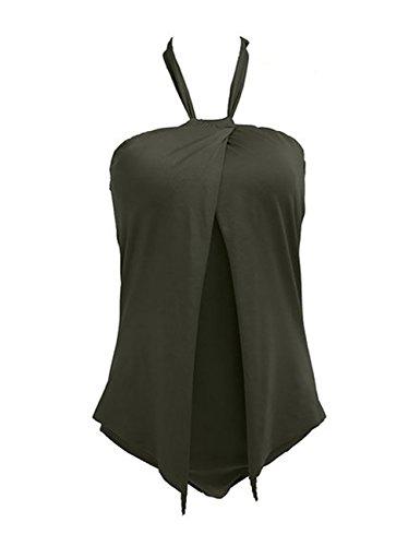 Boutiquefeel Traje de Baño de Halter de Una Pieza con Relleno Interior Monokini para Mujer Verde Ejército