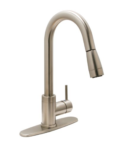 Huntington Brass 51181-72 Single-Handle Pull-Down Kitchen Faucet with Sprayer and Optional Deck Plate, Satin Nickel