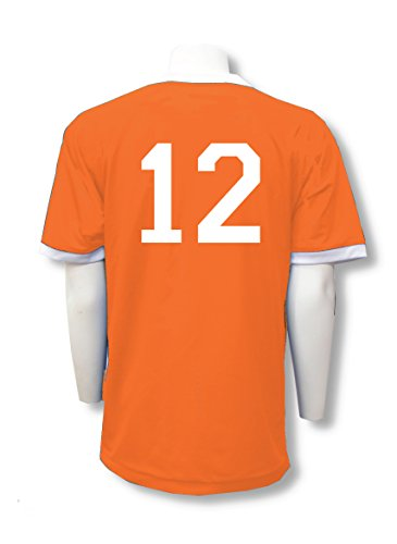 (Reversible sports jersey, personalized with back numbers - size Youth S - color Orange/White)