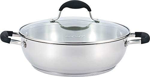 (AVACRAFT 18/10 Stainless Steel Everyday Pan with Tri-Ply Base, Chef's Pan with Glass Lid, Silicone Coated Ergonomic Loop Handle, Multipurpose Stewpot with Lid, Saute Pan (11 inch))